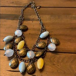 Premier Designs blue/yellow/antique gold necklace